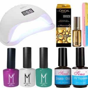 Kit Unghii cu Lampa Profesionala UV LED SUN5 si 7 Produse Premium pentru Manichiura Semipermanenta, Summer Pastels