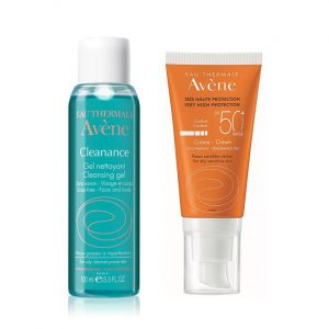 Pachet Crema fara parfum SPF 50+ Avene + Gel de curatare Avene Cleanance