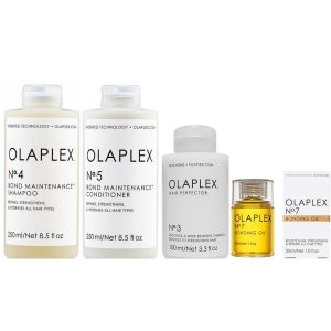 Pachet pentru Intretinerea Parului Olaplex - Sampon OLAPLEX No. 4, 250 ml; Balsam OLAPLEX No. 5, 250 ml; Tratament OLAPLEX No. 3, 100 ml; Ulei OLAPLEX No. 7, 30 ml