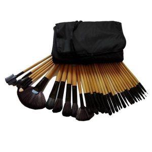 Set 32 pensule pentru machiaj, maner maro - Gonga
