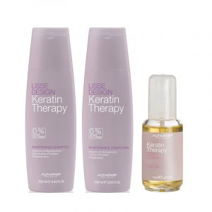 Set Alfaparf Lisse Design Keratin Therapy Maintenance cu 250 ml Sampon + 250 ml Balsam + 50 ml Ulei de par